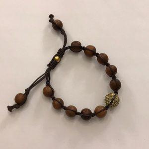 Tai wood and gold rhinestone bead bracelet